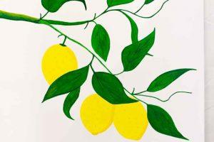 Cuadro con Limones Poner Detalles en Hojas