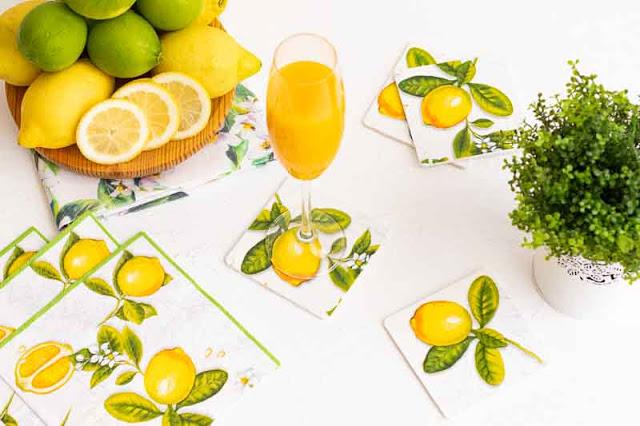 Posavasos de Madera Decoupage de Limones