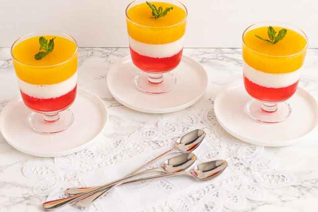 Receta Gelatina Arcoiris con Fresa, Leche y Naranja