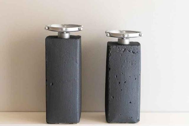 candelabros de cemento preparados