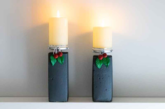 como hacer candelabros de cemento
