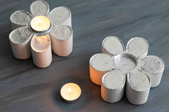 como hacer portavelas de cemento en forma de flor