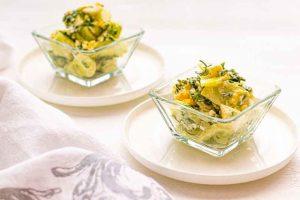 ensalada de pepino fresco y queso