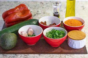 ensalada con lentejas rojas preparar ingredientes