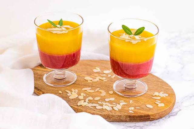 postre de mango y frambuesas
