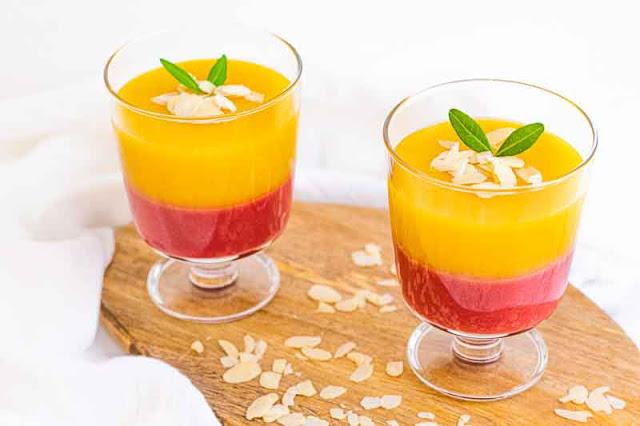 receta de postre de mango y frambuesa