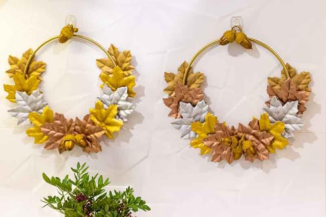 decoracion con hojas otono