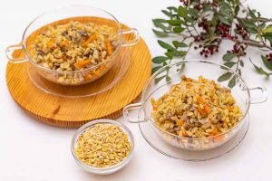 paella de trigo tierno y champinones