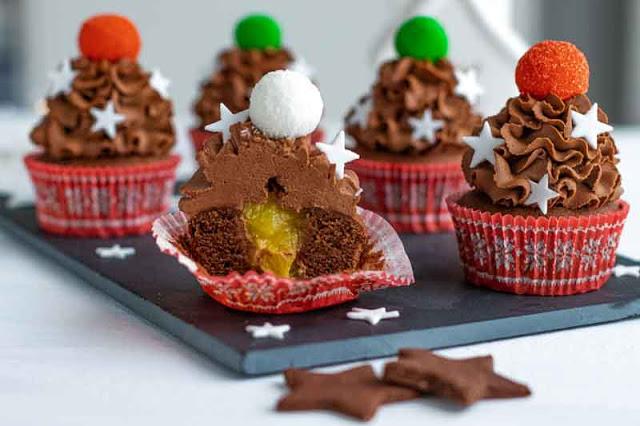 receta de cupcakes de chocolate rellenos de naranja
