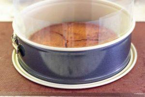 poner bizcocho para pastel con mousse en molde