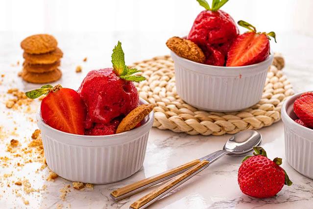 receta de sorbete de platano fresas y menta
