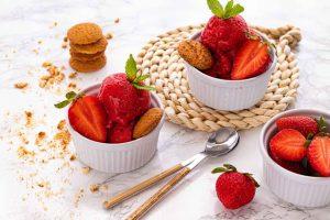 sorbete fresas platano y menta
